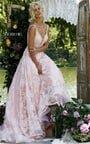 Glamorous Sherri Hill 11314 V-Neck Jeweled Lace Blush Long Dress Prom 2016