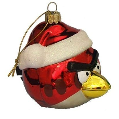 Angry Birds Red Bird in Santa Hat Glass Ball Christmas Tree Ornament ...